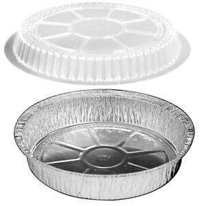 9 Round Foil Take out cake Pan W clear Dome Lid 500 pk Aluminum Containers