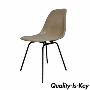 Vintage Mid Century Modern Fiberglass Shell Side Desk Chair Eames Style Retro