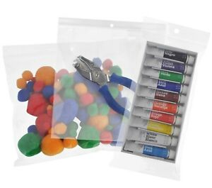 Assorted Clear Reclosable Ziplock Bags W Hang Hole Storage Plastic 2 Mil 4 Mil