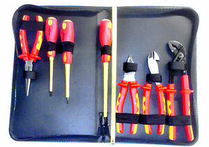 7 Piece 1000v Insulated Tool Set Pliers Slotted Philips Screwdrivers Cutters