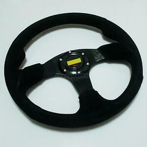Universal 350mm Black Suede Racing Steering Wheel 14 Sport Leather New 001