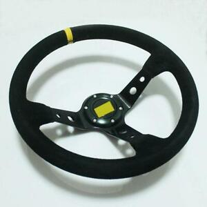 Universal 350mm Black Suede Racing Deep Dished Steering Wheel 14 Sport 003