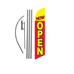 Now Open red yellow 15 Feather Banner Swooper Flag Kit With Pole spike