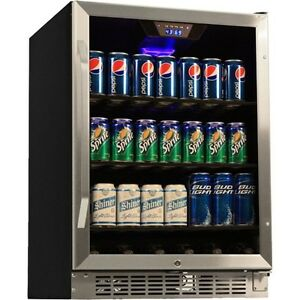 Stainless Steel 184 Can Beverage Center Built in Large Glass Door Refrigerator