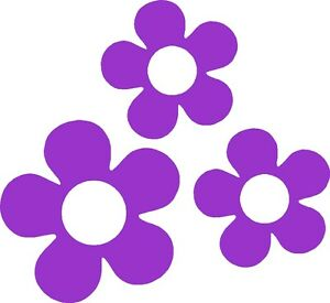 Retro 60 S Flower Vinyl Decals Stickers For Car Or Van Purple