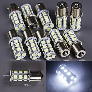 10 X Super Bright Ba15s 1156 White Turn Signal 18 Smd 5050 Led Light Bulbs Truck