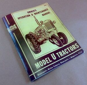 Minneapolis Moline Model U Tractors Owners Operators Maintenance Manual S158
