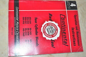 Continental Motors 4 Cylinder Diesels Operation Maintenance Manual Dm 5154 e
