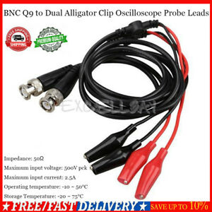 Pro 2pcs 110cm Bnc Q9 To Dual Alligator Clip Oscilloscope Test Probe Cable Leads