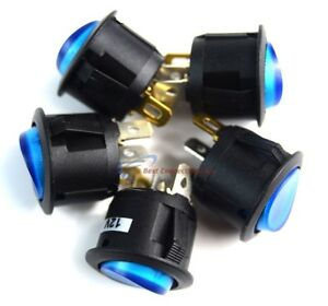 Switch Round 3 Prong Blue Led Rocker Switch Spst Toggle Switch 5 Pack Ec 1217