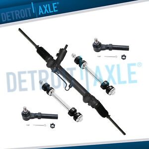 New 5pc Kit Steering Rack Pinion 2 Outer Tie Rods 2 Front Sway Bar Link