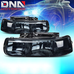 For Chevy Silverado 1999 2002 Euro Smoked Housing Left Right Headlights Corner