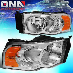 For Dodge Ram 2002 2005 1500 2500 Chrome Housing Amber Euro Crystal Headlights