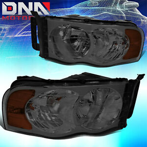 For Dodge Ram 2002 2005 1500 2500 Smoked Tint Housing Amber Crystal Head