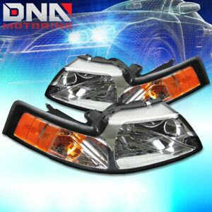For Ford Mustang 1999 2004 Gt cobra Euro Chrome Housing Amber Corner Headlights