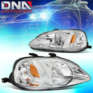 For Honda Civic 1999 2000 Ek Jdm Type r Look Chrome Housing Amber Headlights