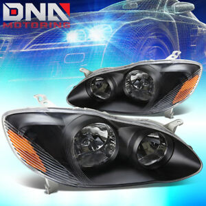Fits 2003 2008 Toyota Corolla E120 Black Crystal Headlights Amber Reflector Lamp