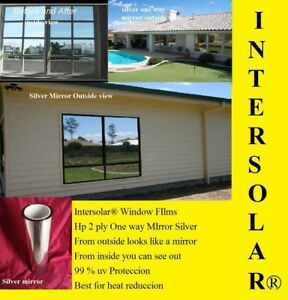 24 X50 Silver Mirror Tint Home Commercial 2 Ply Extra Dark Intersolar 1