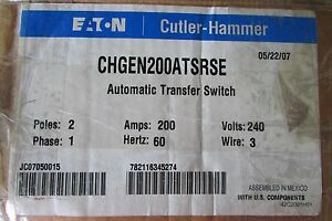 Eaton Cutler Hammer Chgen200atsrse Automatic Transfer Switch 2 Pole 200 Amp 240v