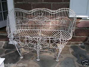 Antique Victorian 1800 S Garden Iron Wire Bench Heart Back Free Shipping 100 Mil