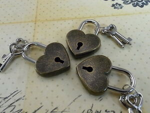 Old Antique Vintage Style Mini Padlock Key Locks Lot Of 3