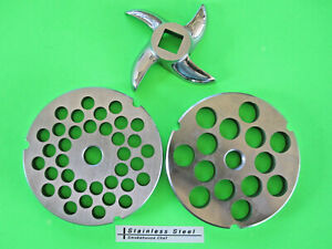 3 pc 32 Meat Grinder Plates And Knife For Hobart Lem Cabelas Biro Torrey Etc