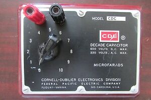 Cde Cornell Dubilier Fpe Federal Pacific Cdc 3 Decade Capacitor 600v Dc 220v Ac