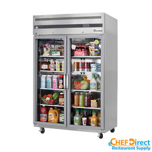 Everest Esgr2 49 Double Glass Door Reach in Refrigerator