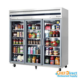Everest Esgr3 75 3 Glass Door Reach in Refrigerator