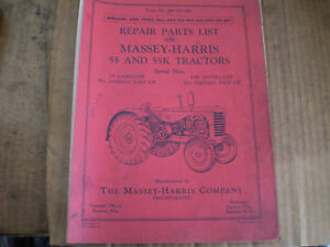 Massey Harris 55 55k Original Parts Catalog Tractor