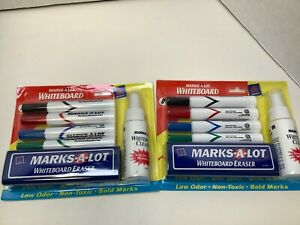 Marks A Lot Dry Erase Markers Chisel Tip Assorted Colors 8 Count Eraser