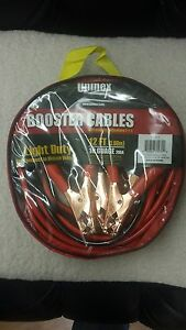 Car Battery Booster Jumper Cable 200 Amp 12 Feet 10 Guage With Pouch Heavy Duty