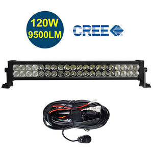 22 24 Inch 6000k Off Road 120w Cree Led Fog Lamp Work Light Bar For Jeep W Relay