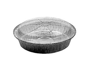 8 Round Aluminum Foil Take out Pan W clear Dome Lid disposable Container 500 s