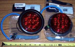 Pair 4 Dialight Red Led Stop turn 2 Wire Lights Trailer Step Van Coach Rv