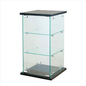 Black Tower Glass Display Case Counter Top Showcase Fixture W Lock 24 H X 13