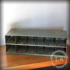 Vintage Industrial Green Partitioned Metal Storage Cabinet Organizer Bin