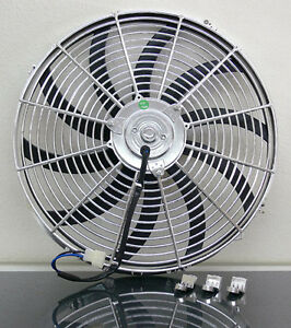 16 Chrome Universal Super Thin Electric Cooling Fan Reversible 12v