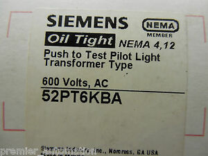Siemens 52pt6kba Push To Test Pilot Light Transformer Type 600 Volts Ac