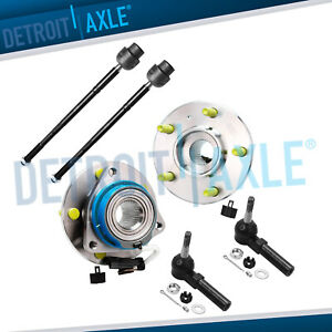 2 Front Wheel Hub And Bearing Assembly W Abs 2 Outer And 2 Inner Tie Rod