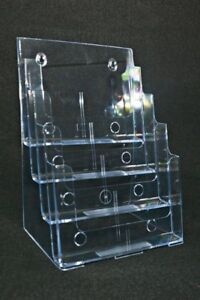 Clear 4 Slot Letter Size Magazine Flyer Business Brochure Office Display Stand