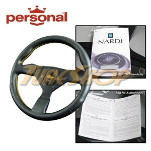 Italy Personal Grinta 330mm Steering Wheel Black Leather Yellow Stiching Horn