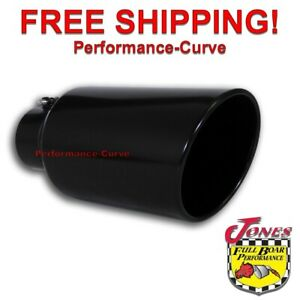 Black Diesel Stainless Steel Bolt On Exhaust Tip 4 Inlet 7 Outlet 15 Long