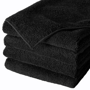 288 Black Microfiber Towel New Cleaning Cloths Bulk 16x16 Manufacturers Sale