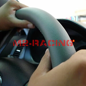 Pvc Leather Steering Wheel Cover With Needles Thread Diy Gray Size M Usa gf
