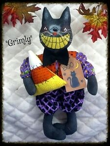 Primitive Raggedy Halloween 14 Grimly The Black Cat Pattern 113