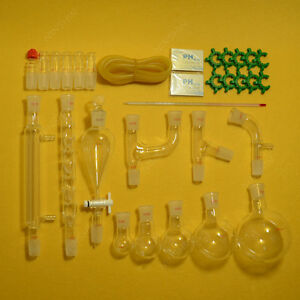 New Chemical Glassware Kit lab Glass Set With Ground Joints 24 29 29pcs