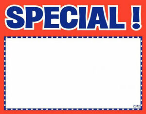 100 Special 7 X 11 Classic Red With Blue Accents Retail Value Sale Signs Cards