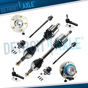 2 Front Cv Axle Shaft 2 Lower Ball Joint 4 Tie Rods 2 Wheel Hub Bearing W Abs