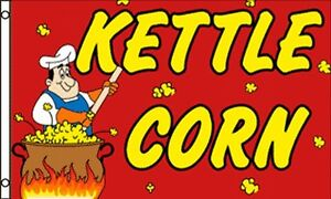 Kettle Corn Flag 3x5 Ft Advertising Sign Snack Bar Cart Concession Popcorn Beach